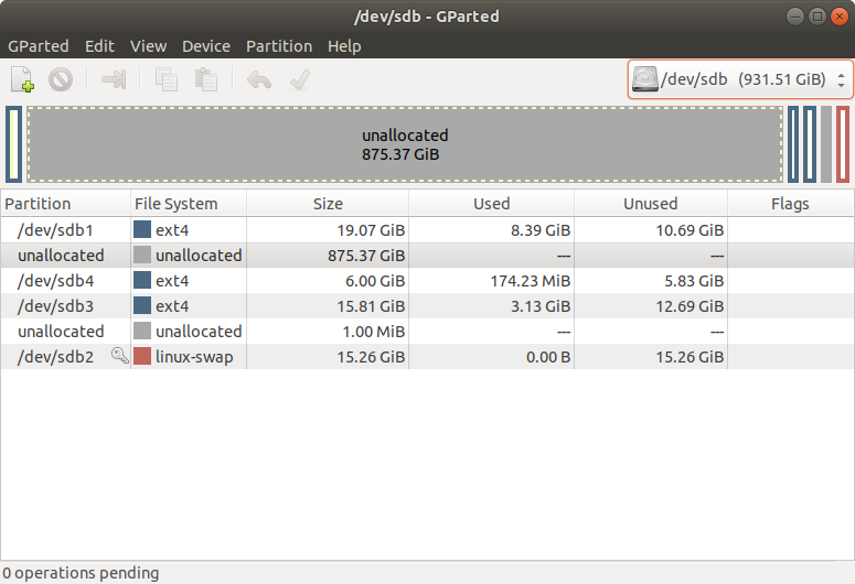GParted result partition table